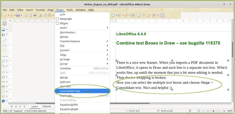 在 Draw 中给导入的 PDF 文件合并文本框