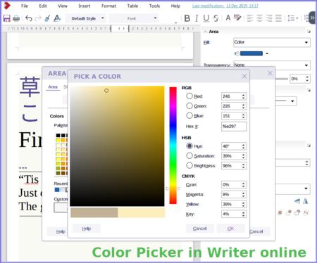 Color picker in Writer online