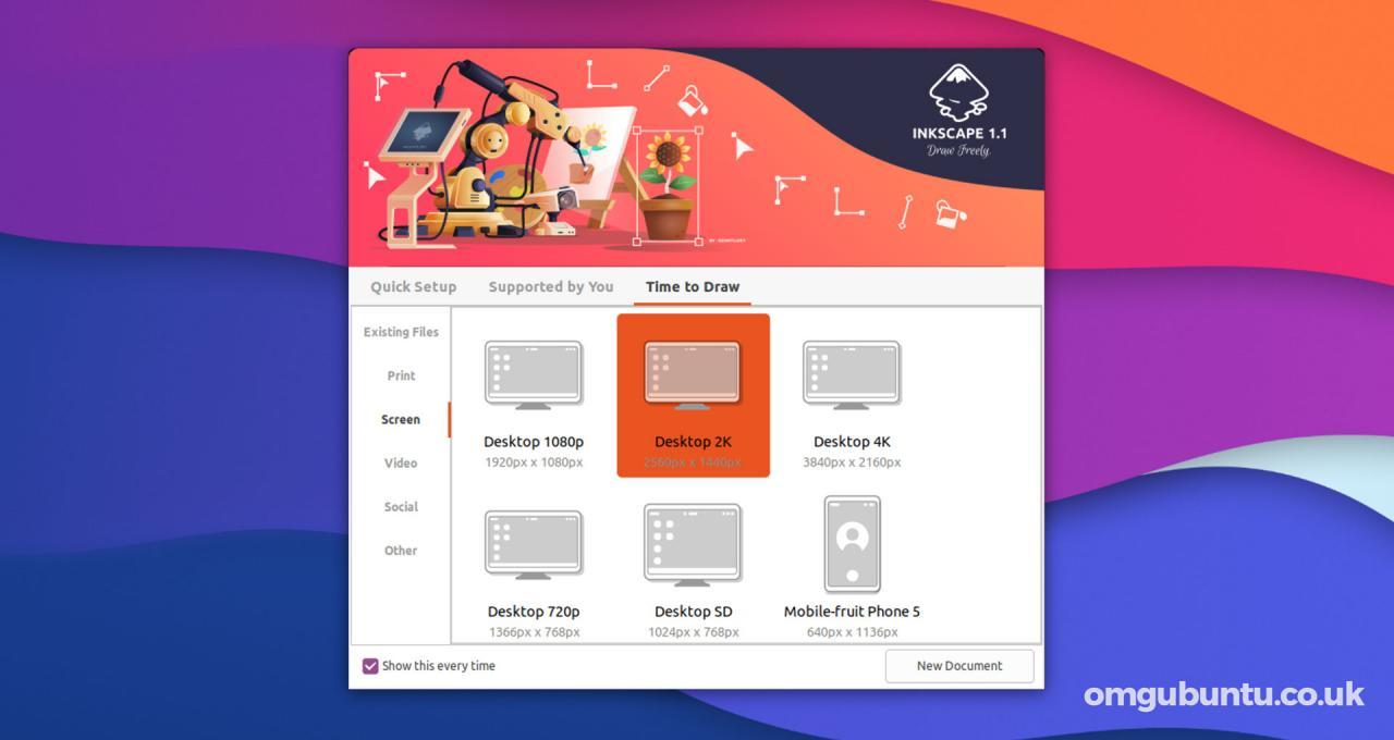 Inkscape 1.1欢迎屏幕3